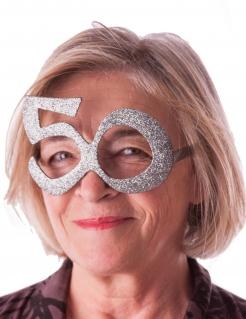Glitzerbrille 50 Jahre silbern