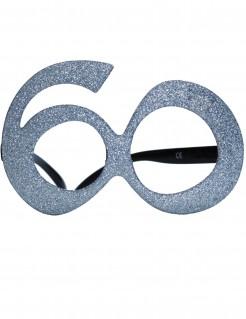 60. Geburtstag Glitzer-Brille silber