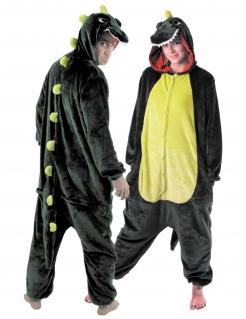 Erwachsenenkostüm Dinosaurier Einteiler grün
