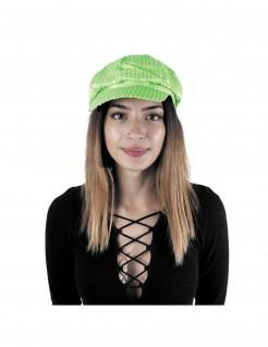 Kappe mit Pailletten neongrün