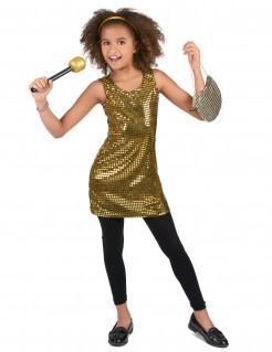Glitzerndes Disco Mädchen-Kostüm gold