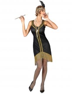 Charleston-Damenkostüm 20er Jahre schwarz-gold