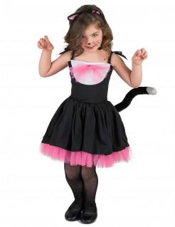 Kleine Katze Tier-Kinderkostüm schwarz-rosa