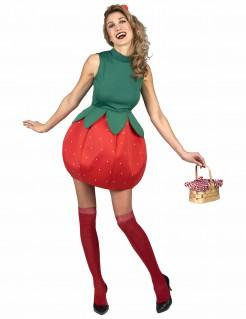 Erdbeer-Damenkostüm Frucht grün-rot