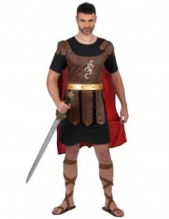Gladiatoren-Erwachsenenkostüm Römer braun-schwarz-rot
