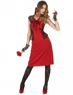 Sexy Damenkostüm Vampir rot-schwarz