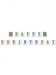 Happy Unbirthday Alice im Wunderland Girlande schwarz-weiß