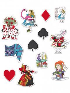 Alice im Wunderland Deko-Kartonbilder 12 Stück bunt