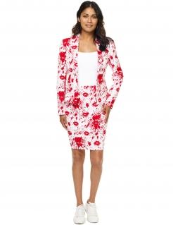 Halloween-Anzug Opposuits™-Damenanzug Blutige Küsse weiss-rot