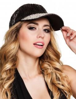 Schildmütze Cap mit Pailletten schwarz-silber