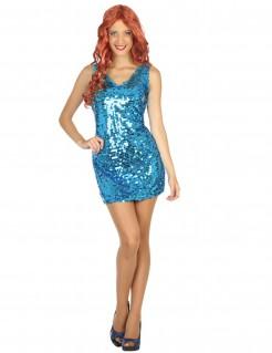 Disco Pailletten Kleid für Damen blau