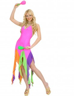 70er Party Strandkleid neonpink-bunt