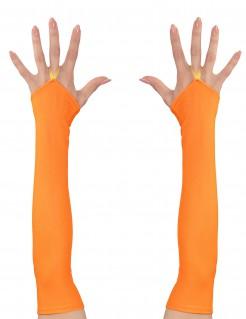 Lange Armstulpen für Damen orange