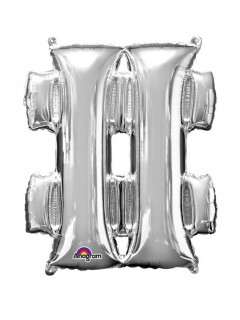 XXL Party Aluminium Luftballon Symbol # silber 68 x 83 cm