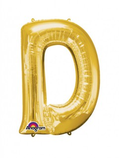 Party Dekoration Deluxe Aluminium Ballon Buchstabe D gold 60 x 83 cm
