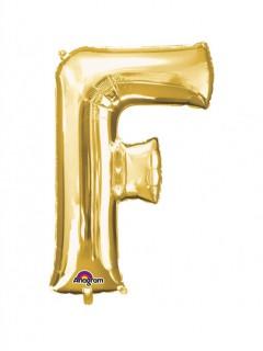 Party Dekoration Deluxe Aluminium Ballon Buchstabe F gold 53x 81 cm
