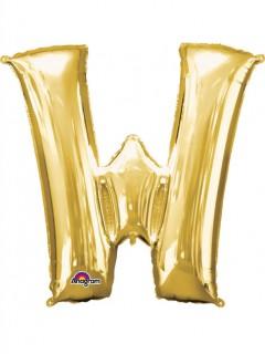 Party Dekoration Deluxe Aluminium Ballon Buchstabe W gold 71 x 83 cm