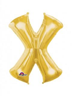 Party Dekoration Deluxe Aluminium Ballon Buchstabe X gold 68 x 88 cm