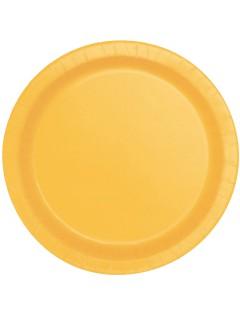 Partyteller Pappteller Partydeko 16 Stück gelb 22 cm