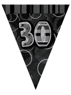 30. Geburtstag Wimpelgirlande grau 2,74cm