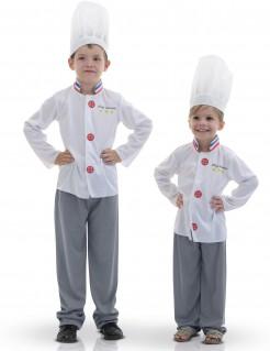Französischer Chefkoch-Kinderkostüm Küchenchef weiss-grau