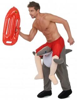 Haifisch-Surfer-Kostüm grau-rot-weiss