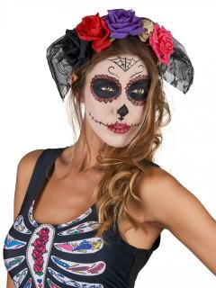 Dia de los Muertos Kopfschmuck mit Spitze und Blumen Halloween-Accessoire bunt