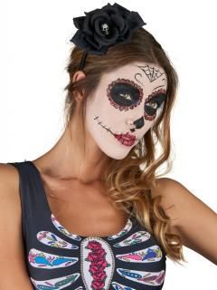 Dia de los Muertos Halloween Haarreif mit Totenkopf-Rosenblüte schwarz-weiss