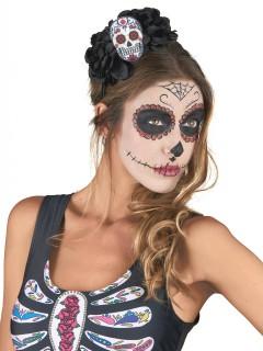 Dia de los Muertos Haarreif mit Rosen und Sugar Skull Halloween Kostüm-Accessoire schwarz-bunt