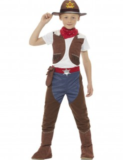 Texanisches Cowboy-Jungenkostüm weiss-braun