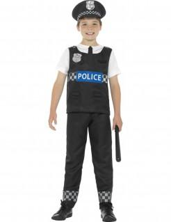 Polizist-Kinderkostüm schwarz/weiss