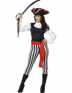 Gestreiftes Piraten-Damenkostüm schwarz-weiss-rot