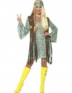 60er-Jahre-Kostüm Hippie-Damenkostüm braun-bunt