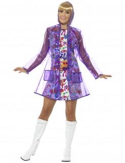 Wasserdichte 60er-Jahre-Damenjacke Regenjacke transparent-lila