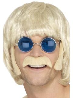 Hippie-Set aus blondem Schnurrbart und Koteletten