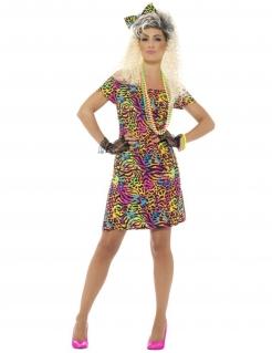 80er-Jahre-Minikleid mit Leopardenmuster bunt