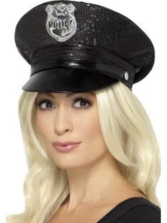 Schwarzer Polizeihut mit Pailletten
