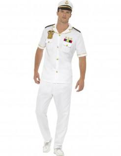 Kapitän Marine Herrenkostüm weiss