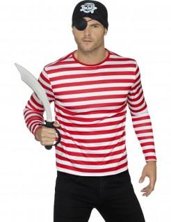 Gestreiftes Piraten-Shirt weiss-rot