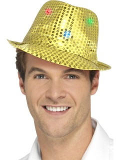 Pailletten Trilby Hut mit LED gold