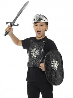 Ritter-Set für Kinder Rüstung und Waffen schwarz-silber