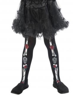 Kinder-Strumpfhose Tag der Toten mit Knochen und Rosen schwarz-weiss-rot