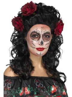 Locken-Damenperücke mit Rosen lang schwarz-rot