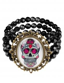 Sugar Skull Armband Tag der Toten Schmuck schwarz-bunt