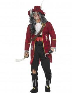 Verfluchter Zombiepirat Halloween-Kostüm rot-schwarz