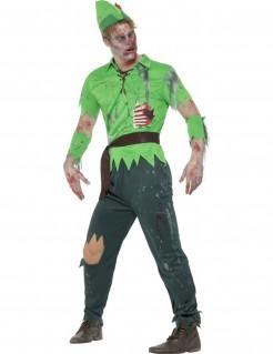 Zombie-Bogenschütze Halloween-Herrenkostüm grün-braun