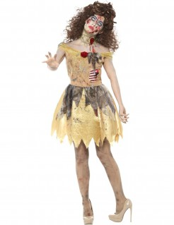 Zombie-Märchenprinzessin Halloween-Damenkostüm gold-grau-rot