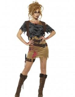 Zombie-Jägerin Halloween-Damenkostüm grau-braun