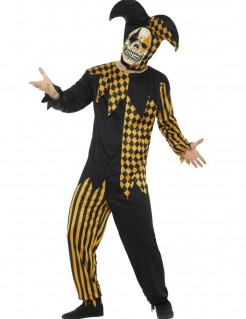 Verrückter Harlekin Halloween-Herrenkostüm orange-schwarz