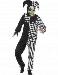 Diabolischer Harlekin Herrenkostüm für Halloween schwarz-weiss